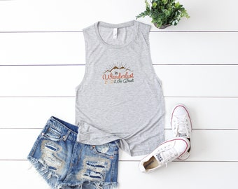 Wanderlust |  Muscle Tank, Yoga Shirt, Gym Shirt, Gym Tank, Yoga Top,Gym Top, Graphic Tee, Fitness Tank, Outdoors Tee, T Shirt, T-Shirt