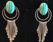 Southwest style Sterling silver post with pendant dangles in silver, malachite stone