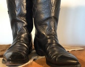Classic Black Pointed Toe Cowboy Boots