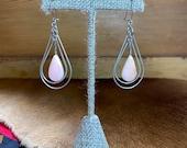 Pink Teardrop Stone Dangle Earrings