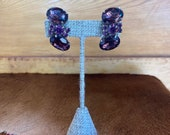 Amethyst Beaded Clip On Earrings