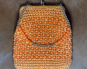 Orange Beaded Handbag