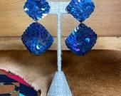 Aurora Borealis Sequin Clip On Earrings