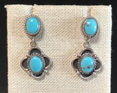 Vintage sterling silver with turquoise stones post dangle earrings