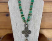 Multi Strand Green Necklace and Braclet Set