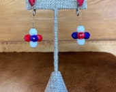 Red, White, and Blue Dangle Clip on Earrings