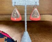 Orange Triangle Dangle Earrings