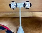Black Lucite Jewel Clip On Earrings
