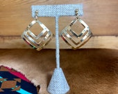 Gold Layered Square Dangle Earrings