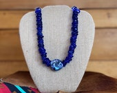 Blue faceted glass trading beads