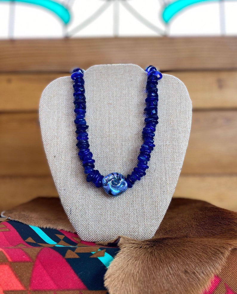 Blue faceted glass trading beads image 1