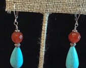 Southwest style turquoise with red carnelian and sterling silver clasp drop earrings