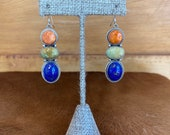 Southwest style Pendant sterling silver earrings with spiny oyster, Kingman turquoise and lapis stone