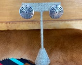 Vintage sterling silver Native American post earrings with artist logo