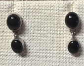 Vintage sterling silver post earrings with onyx stones
