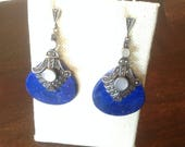 Beautiful Marquisite Earrings with Lapis Stone