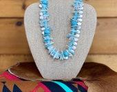 Aqua double strand necklace