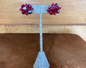 Faceted Red Bead Clip On Earrings
