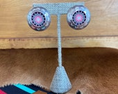 Vintage southwest sterling silver post earrings with circular bead pattern in pink, grey, black and white