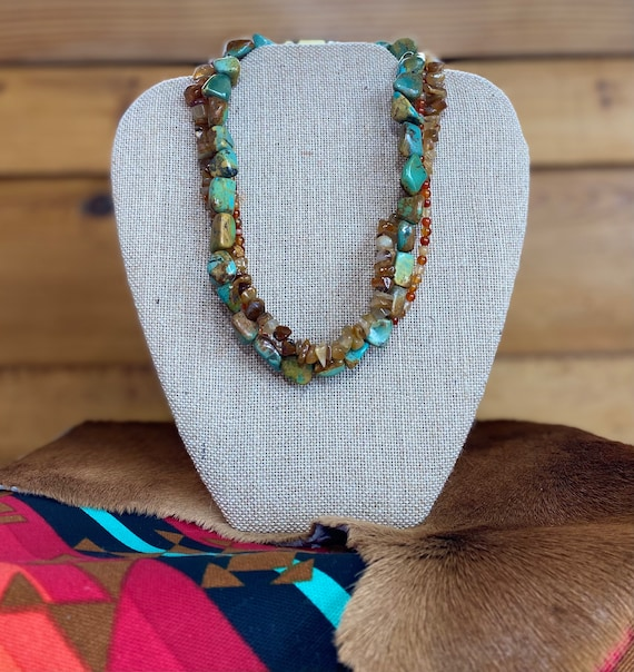 Green Turquoise and Orange Carnelian Unique Necklace Turquoise Necklace December Birthstone Handmade Gemstone Jewelry