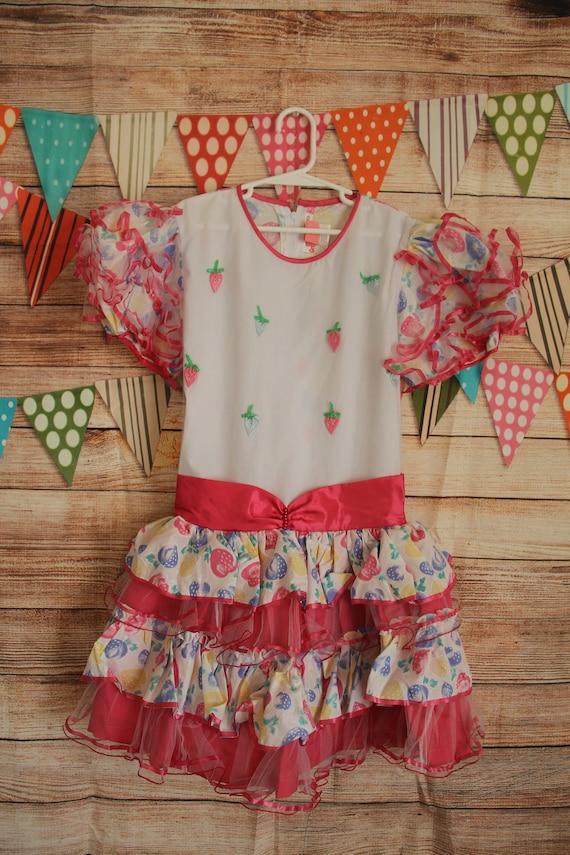 Girls Vintage Dress Strawberries Strawberry Pink B