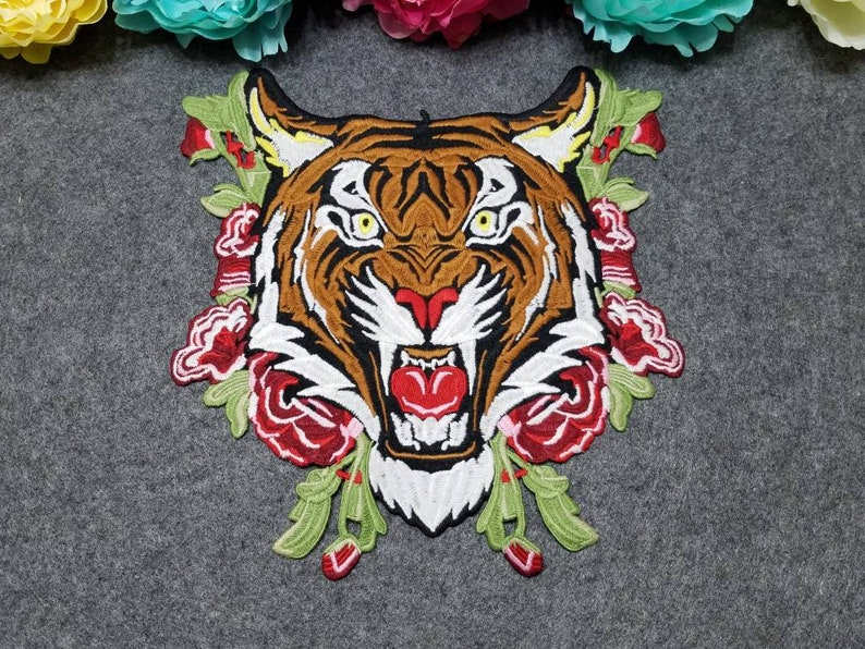 Large Tiger patch Iron on Fashion Tiger head patch