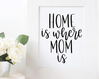 Home is where Mom is print, Mother's Day gift, hand lettered print, gift for mom, wall decor, wall art, gift for her, decor, 8x10 print