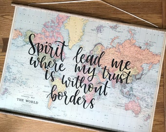 Map Wall Decor, hand lettered map, custom map, quote map, personalized map decor, wall art, quote art, map wall art, calligraphy map