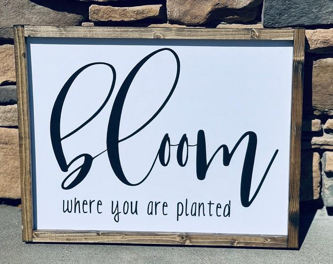 Farmhouse Decor | Farmhouse Wall Decor | Farmhouse Signs | Home Decor | Bloom Where You Are Planted | Boho Farmhouse | Wall Decor