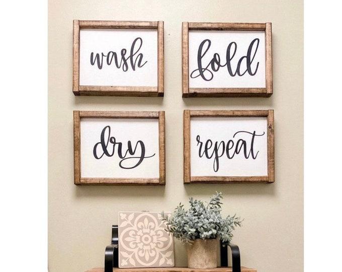 Home Decor Gifts | Farmhouse Wall Decor | Farmhouse Sign | Shelf Decor | Laundry Room Decor | Wash Dry Fold Repeat | Boho Farmhouse