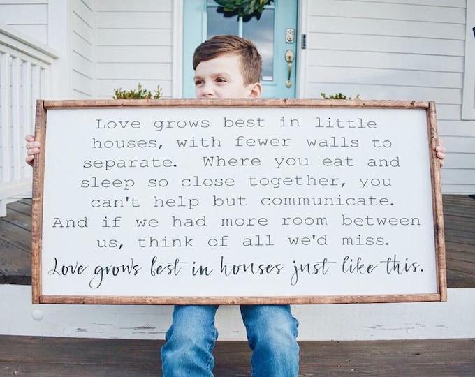 Home Decor Gifts | Love Grows In Houses | Farmhouse Signs | Boho Farmhouse | Living Room Decor | Shelf Decor | Farmhouse Decor