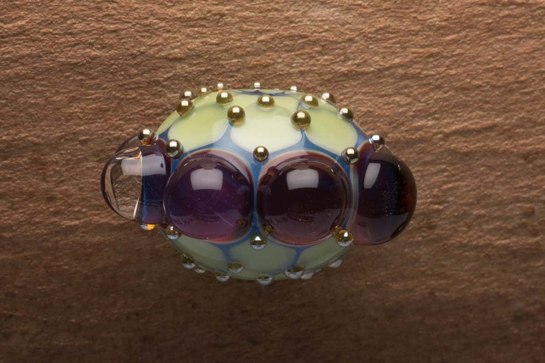 Plum Purple Bubble Dots Lampwork Glass Focal Bead image 0