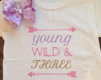 Third Birthday, Toddler Shirt set with bow, Three Year Old, Birthday