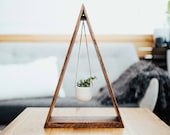 Trending Hanging Triangle Planter Wood for Succulents and Air Plants, Hanging Planter, Triangle Shelf, Wood Shelf