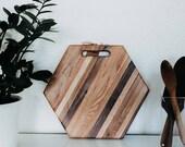 Medium Butcher Block Hexagon Mixed Wood Cutting Board Geometric Cheese and Serving Board End Grain