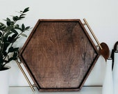 Large Wooden Hexagon Serving Tray for Parties Dining Serving Entertaining
