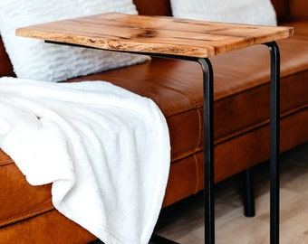 """Live edge wooden """"C"""" table. End Table, Laptop table"""