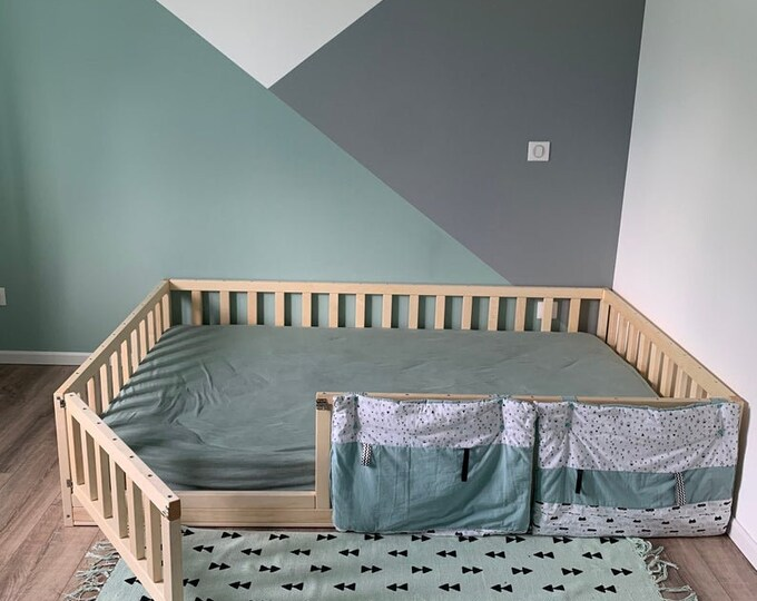 Toddler floor bed with slats Alder 168x122 rails 4, height 75cm gap between rails 6.5 cm