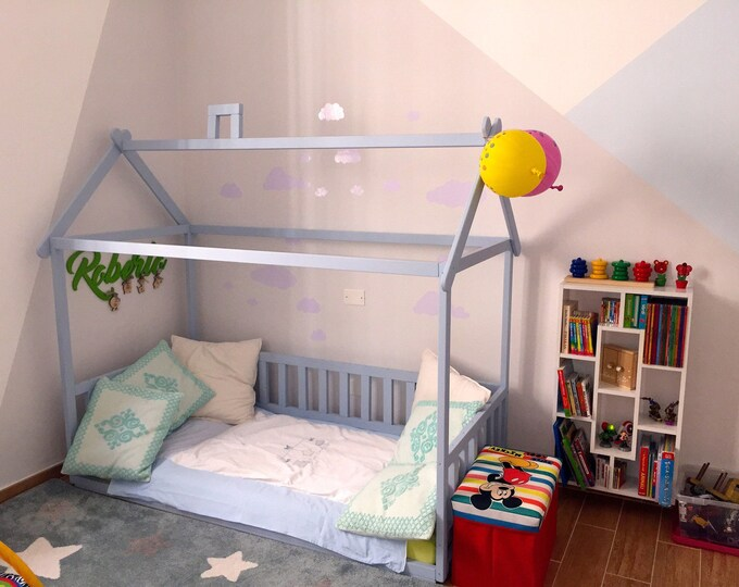 Painted toddler house bed with slats, Montessori floor bed, kid's bed, wood bed, kid's bedroom