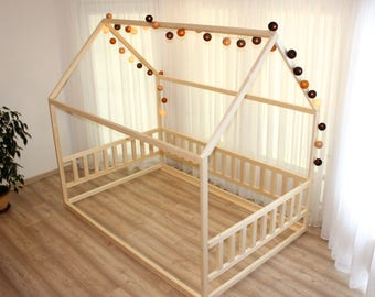 For US Size Bed Montessori Children Toddler Kid Wood Waldorf Toy Nursery Crib Kids Bedroom Floor
