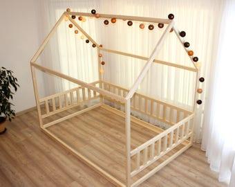 For US Size Bed Montessori Children Toddler Kid Wood Waldorf Toy Nursery Crib Kids Bedroom Floor