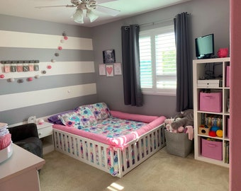 https://home4dreams.com ,Painted toddler bed , Nursery crib ,childrens beds, kids beds, wood bed, Montessori bed, kids bedroom, floor bed