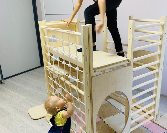 Square gym for toddlers, Step Triangle, Climbing frame, Climbing triangle for toddlers, Triangle with ramp, Toddler gym
