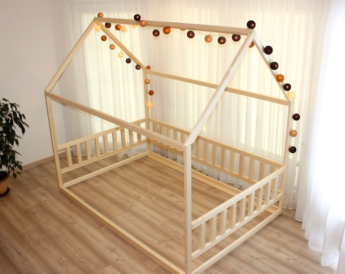 https://home4dreams.com , Toddler house bed without slats, Montessori floor bed, kid's bed, wood bed, kid's bedroom