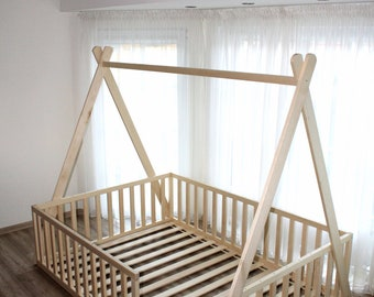 Teepee toddler house bed, Montessori floor bed, , kid bed, wood bed, children home,  children bed, kids bedroom, floor bed
