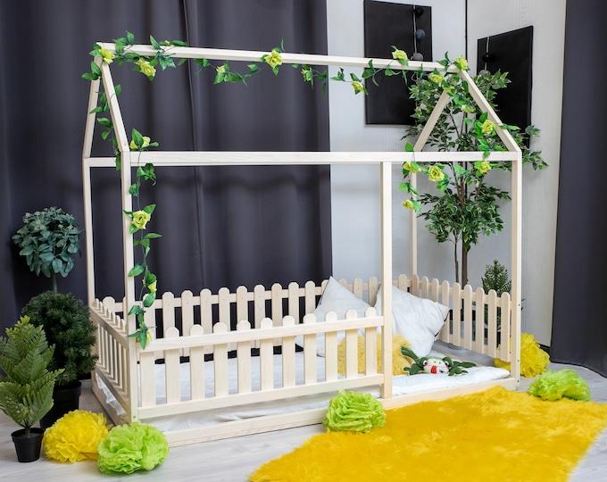 https://home4dreams.com , Toddler house bed with slats, Montessori floor bed, kid's bed, wood bed, kid's bedroom