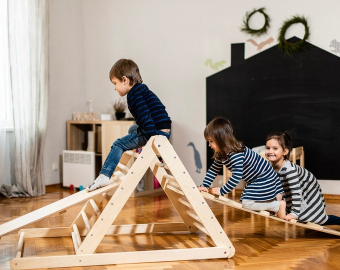 Featured listing image: Pikler triangle, Step Triangle, Climbing ladder for toddler, Climbing triangle for toddlers , Triangle with ramp , Pikler dreieck