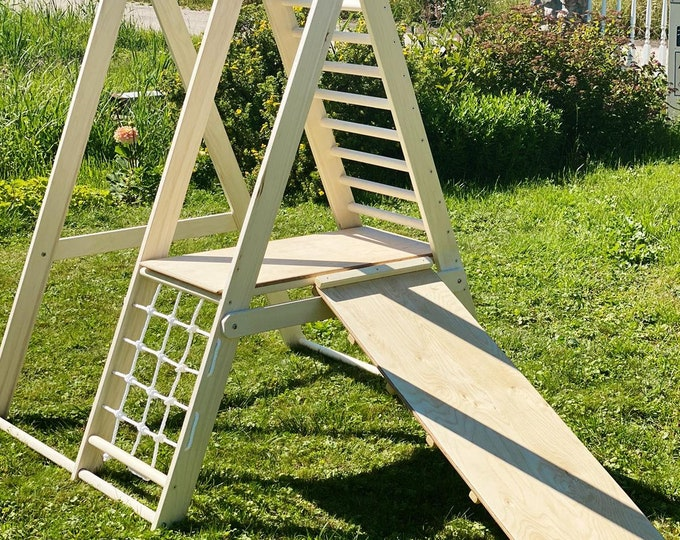 The gym for toddlers, Step Triangle, Climbing frame, Climbing triangle for toddlers, Triangle with ramp, Toddler gym, Pikler dreieck