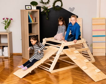 Pikler triangle, Step Triangle, Climbing ladder for toddler, Climbing triangle for toddlers , Triangle with ramp, foldable triangle