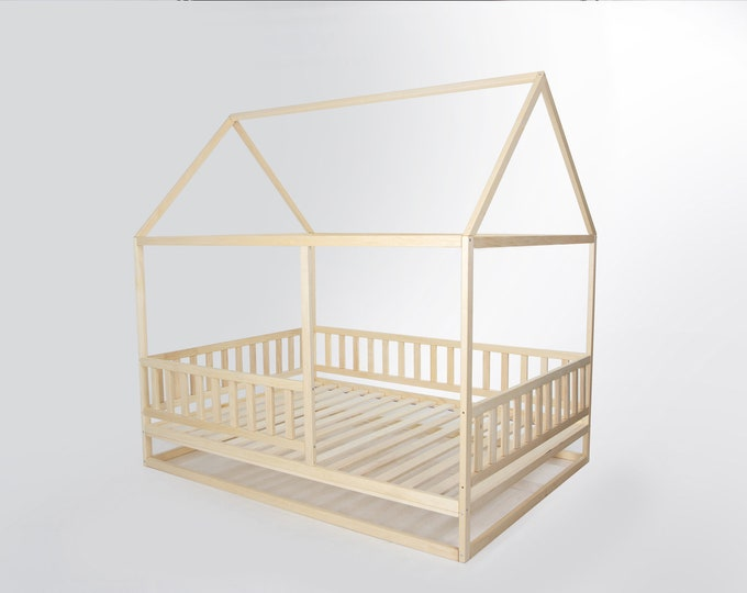 Toddler house bed with slats, Montessori floor bed, kid's bed, wood bed, kid's bedroom